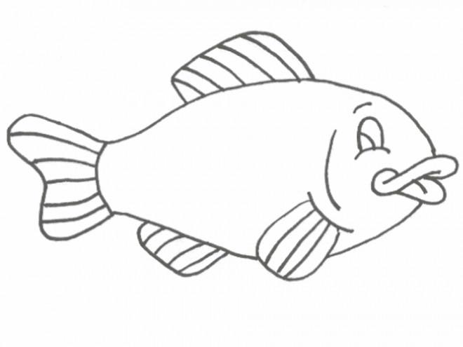 Coloriage poisson en noir et blanc dessin gratuit imprimer - Dessin de poisson facile ...