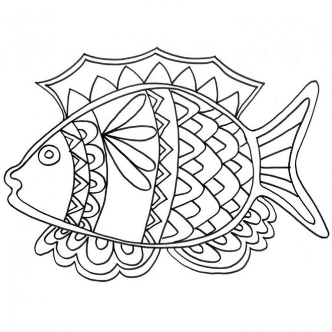 Coloriage poisson mandala pour enfant dessin gratuit - Coloriage poisson rouge ...