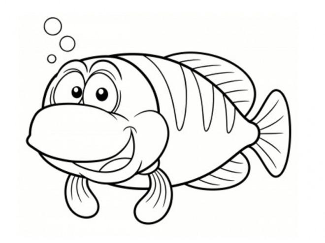 Coloriage poisson qui rit dessin gratuit imprimer - Dessin de poisson facile ...
