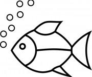 Coloriage et dessins gratuit Poisson simple et bulles à imprimer