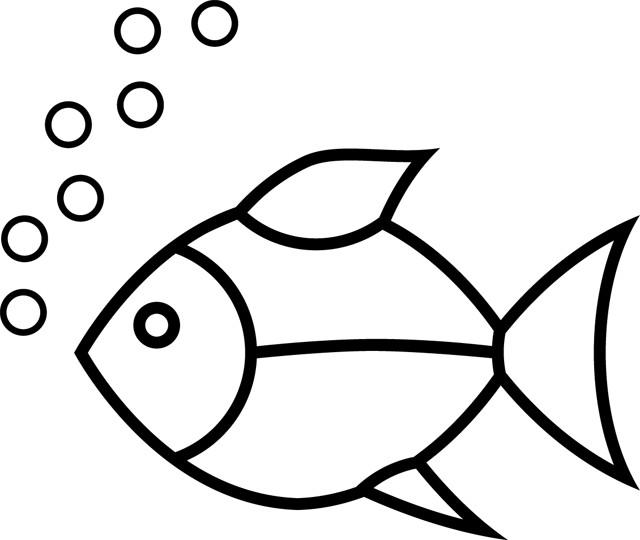 Coloriage poisson simple et bulles dessin gratuit imprimer - Dessin de poisson facile ...