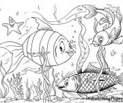 Coloriage Poissons dessin animé