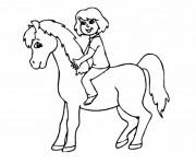 Coloriage et dessins gratuit Petite fille et Poney à imprimer