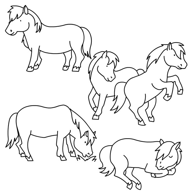 Coloriage poney et chevaux dessin gratuit imprimer - Coloriage de chevaux en ligne ...