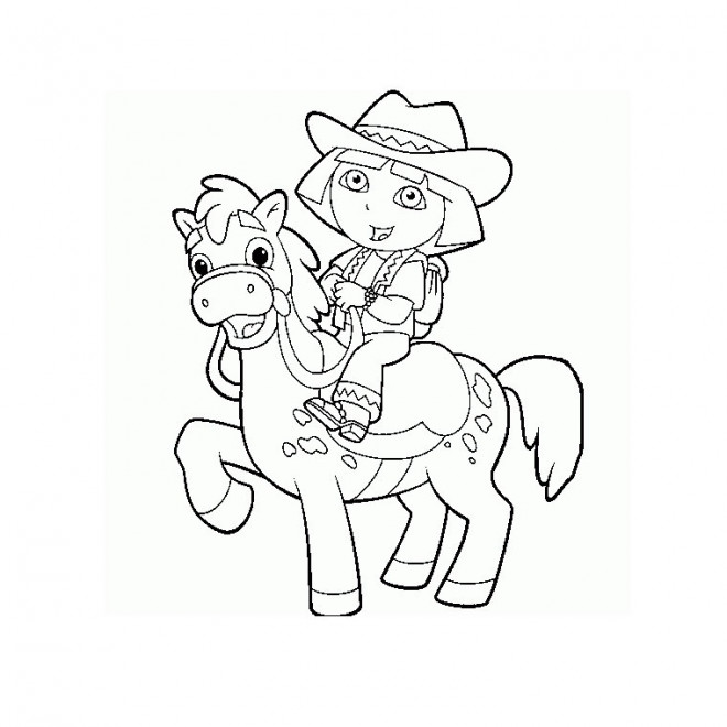 Coloriage et dessins gratuits Poney et Dora à imprimer