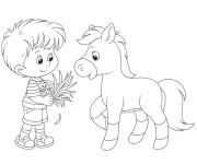 Coloriage Poney et enfant