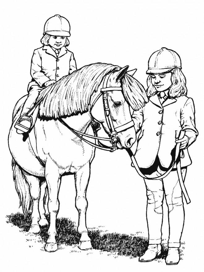 Coloriage et dessins gratuits Poney et petit cavalier à imprimer
