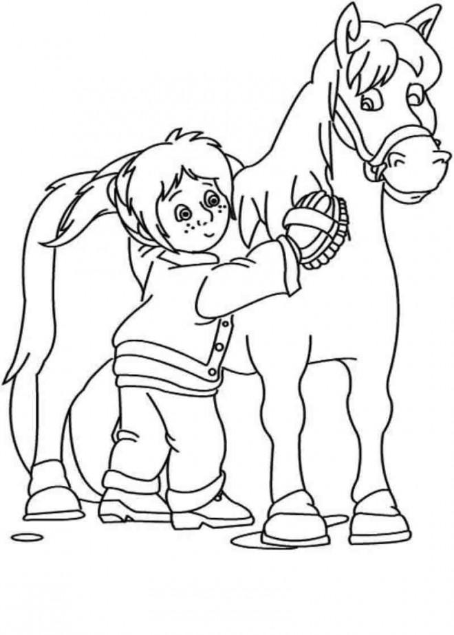 Coloriage et dessins gratuits Une fille prend soin de Poney à imprimer