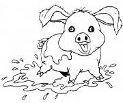 Coloriage et dessins gratuit Cochon en jouant à imprimer