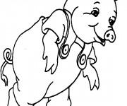 Coloriage et dessins gratuit Cochon portant une salopette à imprimer