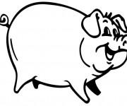 Coloriage et dessins gratuit Cochon souriant à imprimer