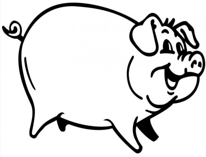 Coloriage et dessins gratuits Cochon souriant à imprimer