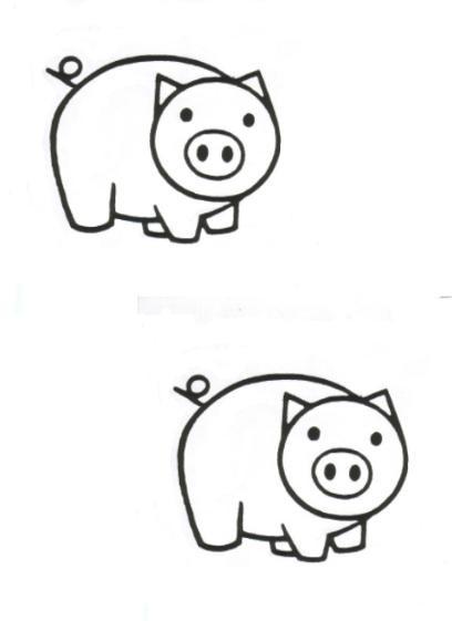 Coloriage et dessins gratuits Cochons identiques à imprimer