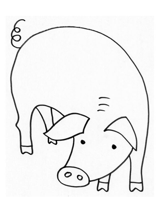 Coloriage et dessins gratuits Porc baissant la tête à imprimer