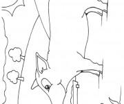Coloriage et dessins gratuit Porc dans la nature à imprimer
