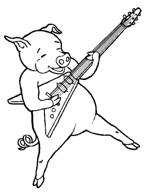 Coloriage et dessins gratuits Porc en jouant de la guitare à imprimer