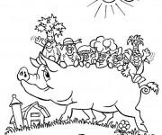 Coloriage et dessins gratuit Porc et les Légumes à imprimer