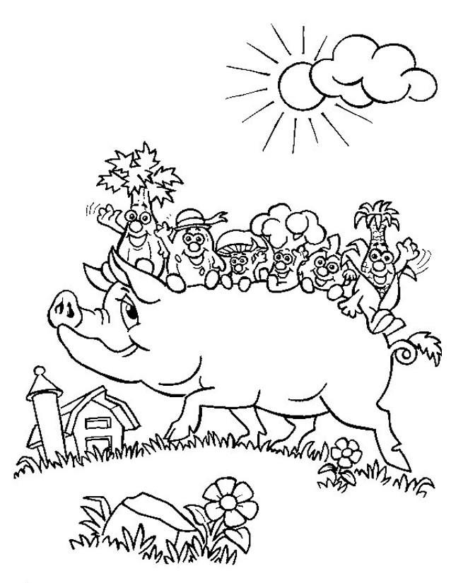 Coloriage et dessins gratuits Porc et les Légumes à imprimer