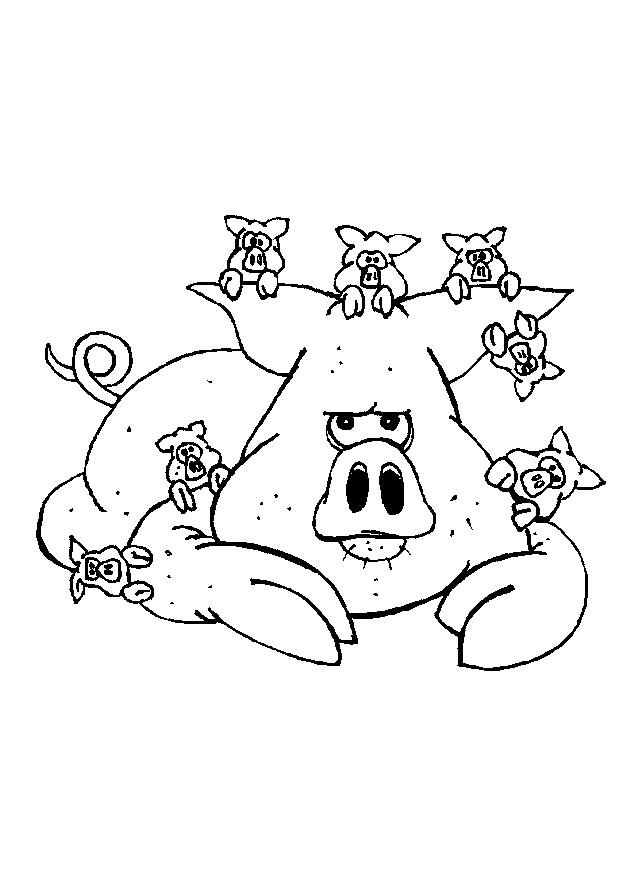 Coloriage et dessins gratuits Porc et ses petits à imprimer