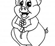 Coloriage et dessins gratuit Porc porte une fleur à imprimer