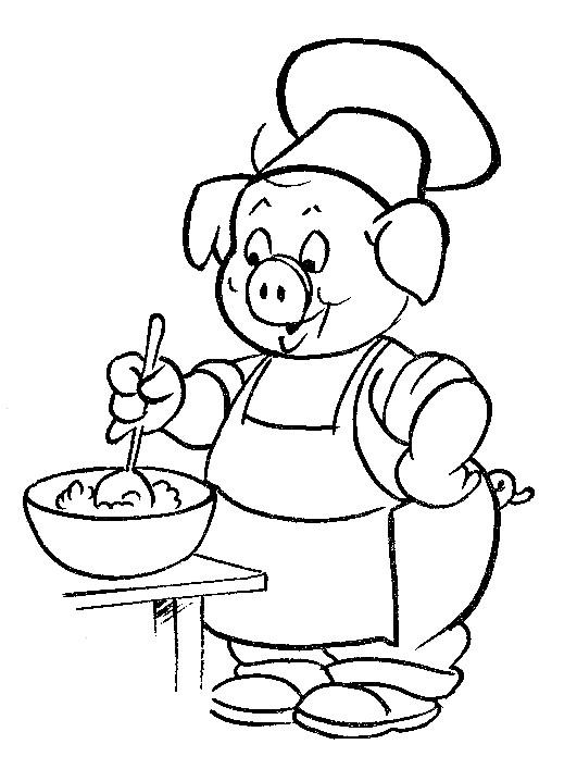 Coloriage et dessins gratuits Porc prépare le repas à imprimer