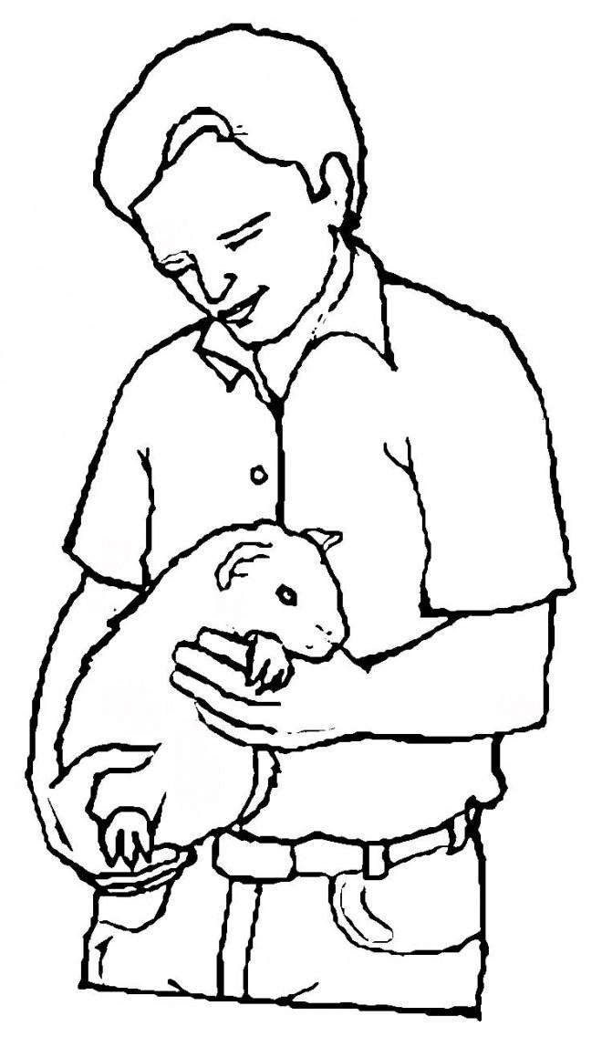 Coloriage et dessins gratuits Porcelet et Homme à imprimer