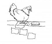Coloriage Poulet qui mange