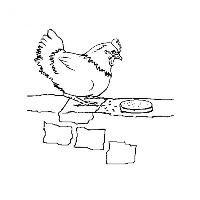 Coloriage et dessins gratuits Poulet qui mange à imprimer