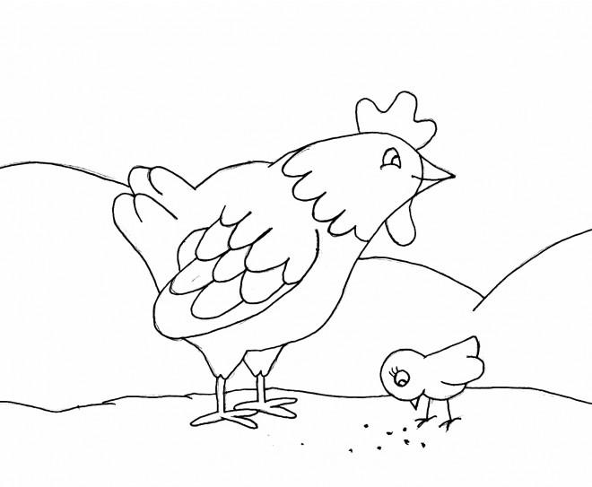 Coloriage et dessins gratuits Un coq et son petit à imprimer