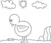 Coloriage Petit Poulet  en plein air
