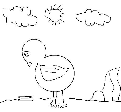 Coloriage et dessins gratuits Petit Poulet  en plein air à imprimer