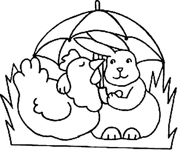 Coloriage et dessins gratuits Poulet et lapin à imprimer