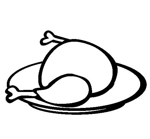 Coloriage Poulet Roti Délicieux Dessin Gratuit à Imprimer