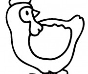 Coloriage Poulet simple