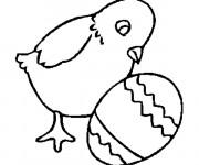 Coloriage Poussin et son Oeuf décoré