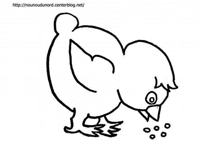 Coloriage et dessins gratuits Poussin qui mange à imprimer