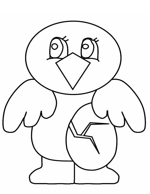 Coloriage et dessins gratuits Poussin simple pour enfant à imprimer