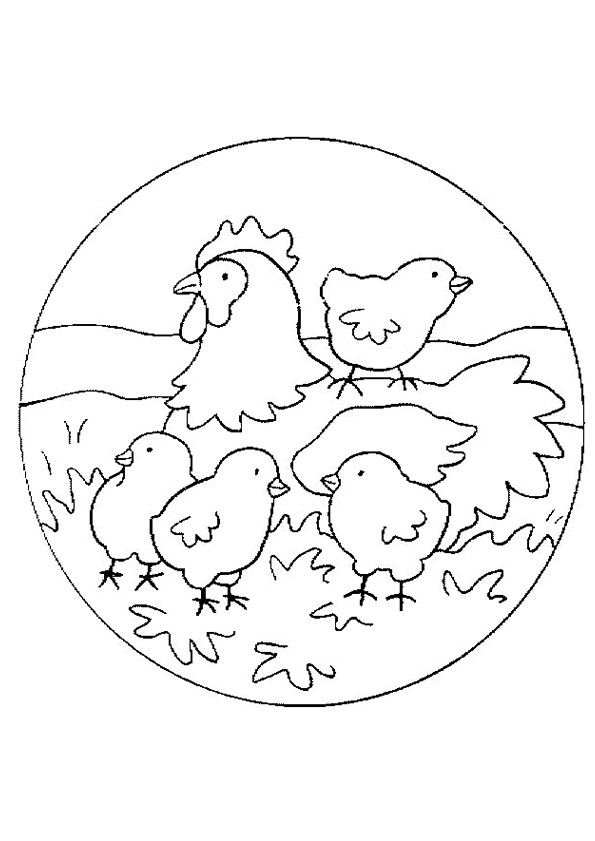 Coloriage et dessins gratuits Poussins et leur mère à imprimer
