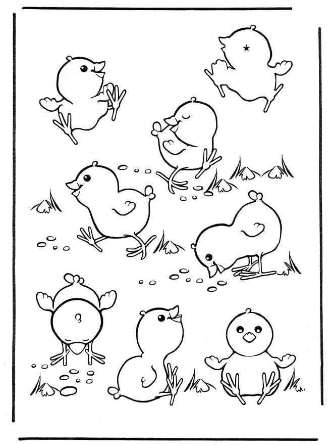 Coloriage et dessins gratuits Poussins qui jouent à imprimer