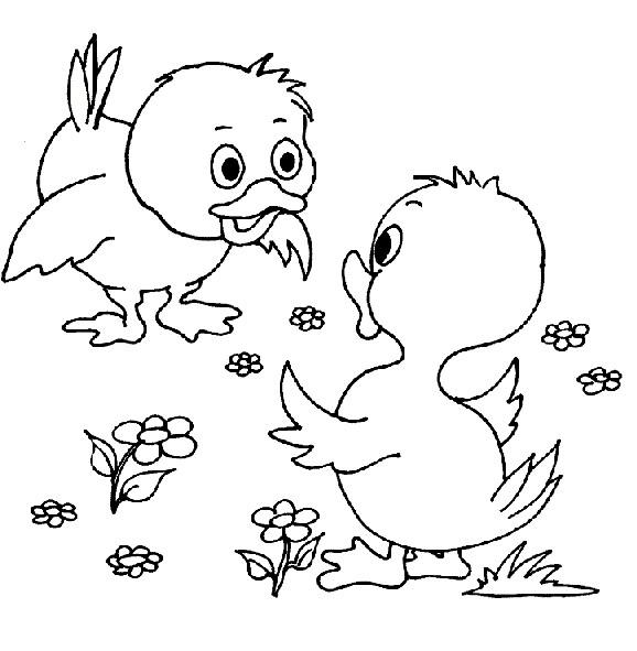 Coloriage et dessins gratuits Poussins se parlent à imprimer