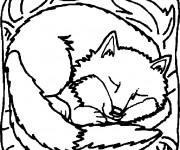 Coloriage et dessins gratuit Renard qui dort à imprimer