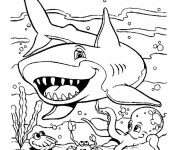 Coloriage et dessins gratuit Requin Cartoon à imprimer