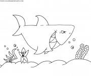 Coloriage et dessins gratuit Requin dans la mer à imprimer