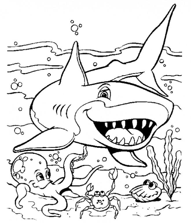 Coloriage et dessins gratuits Requin dessin animé à imprimer