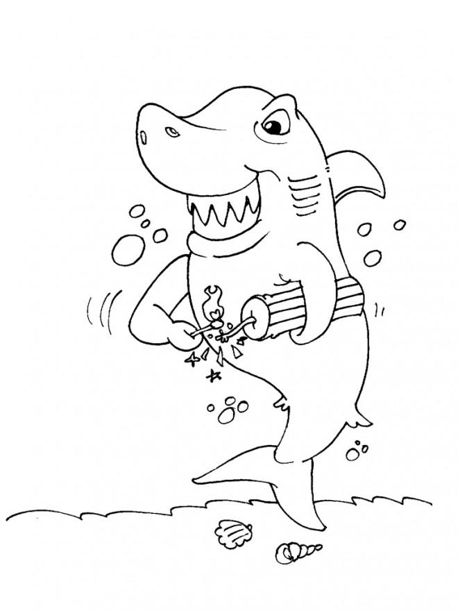 Coloriage et dessins gratuits Requin drôle à imprimer