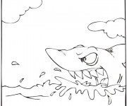 Coloriage Requin en attaque