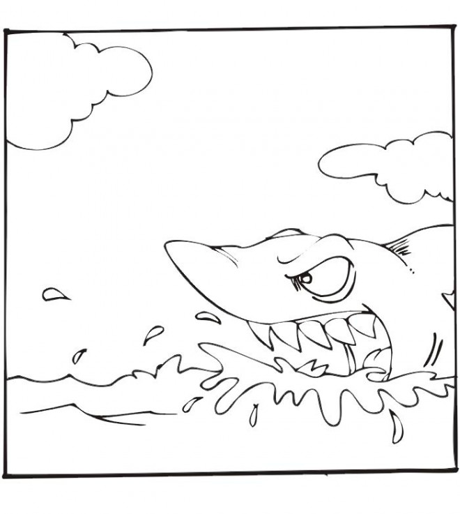 Coloriage et dessins gratuits Requin en attaque à imprimer