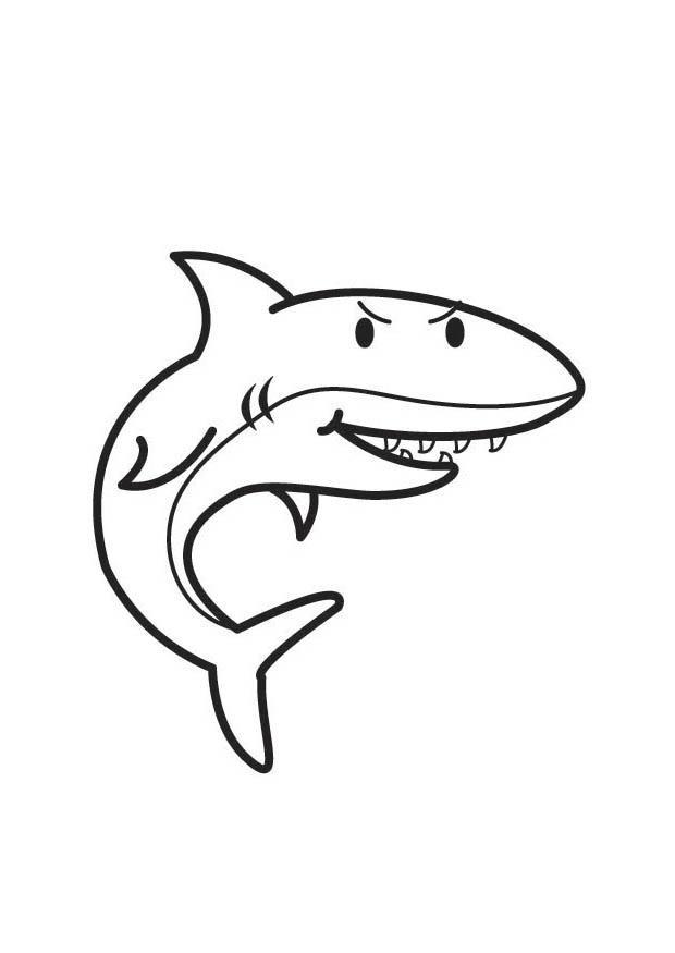 Coloriage requin en noir dessin gratuit imprimer - Coloriage de requin a imprimer gratuit ...