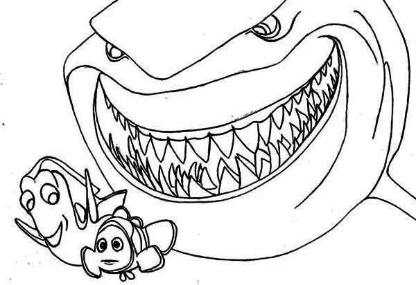Coloriage requin et les poissons dessin gratuit imprimer - Requin rigolo ...