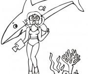 Coloriage Requin et plongeur